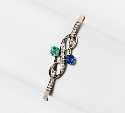 Schuler Auktionen AG - Saphir-Smaragd-Diamant-Armreif