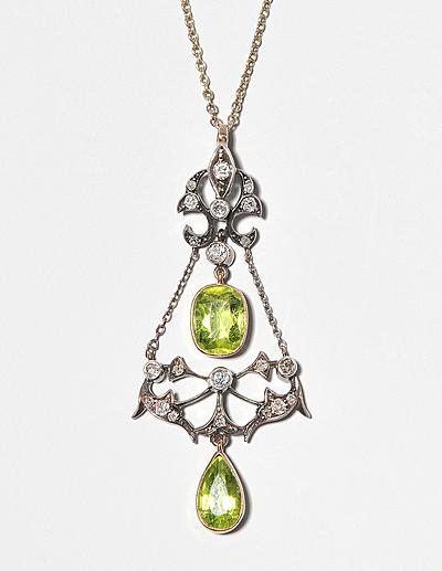 Schuler Auktionen AG - Peridot-Diamant-Anhängerkette