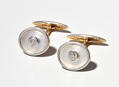 Schuler Auktionen AG - Diamant-Perlmutt-Manschettenknöpfe