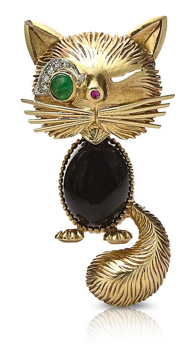 Schuler Auktionen AG - Van Cleef & Arpels Smaragd-Rubin-Diamant-Onyx-Brosche