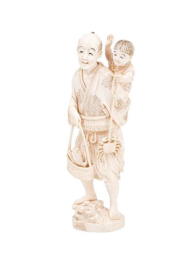 Schuler Auktionen AG - Okimono eines Mannes mit Kind