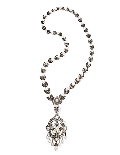 Schuler Auktionen AG - Naturperlen-Diamant-Collier mit Anhänger/Brosche
