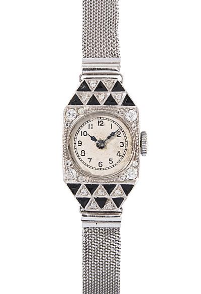 Schuler Auktionen AG - Diamant-Onyx-Damenarmbanduhr