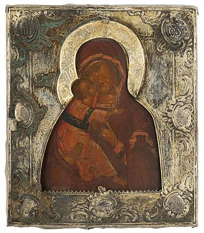 Schuler Auktionen AG - Gottesmutter von Wladimir mit vergoldeter Silberbasma