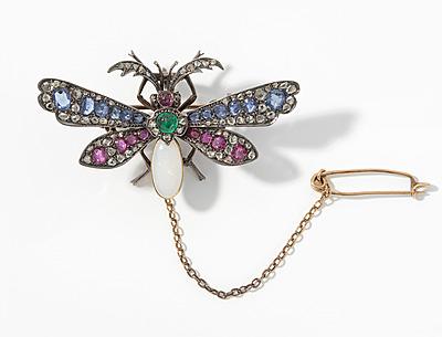 Schuler Auktionen AG - Rubin-Saphir-Smaragd-Opal-Diamant-Brosche