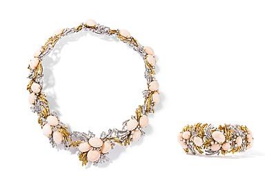 Schuler Auktionen AG - Korallen-Brillant-Collier und Bracelet