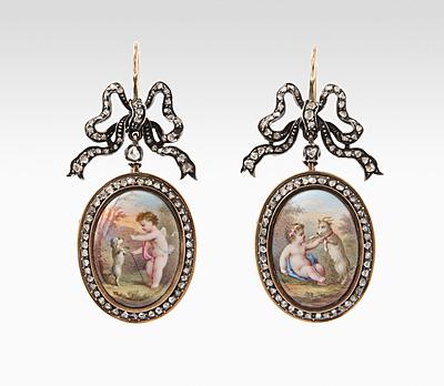 Schuler Auktionen AG - Miniaturmalerei-Diamant-Ohrhänger
