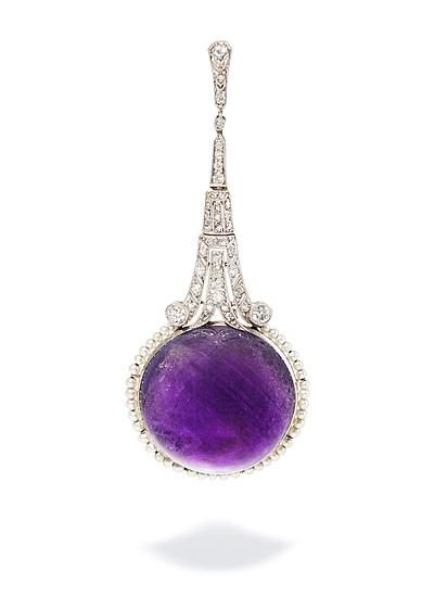Schuler Auktionen AG - Amethyst-Diamant-Perlen-Anhänger