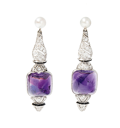 Schuler Auktionen AG - Amethyst-Diamant-Perlen-Ohrhänger