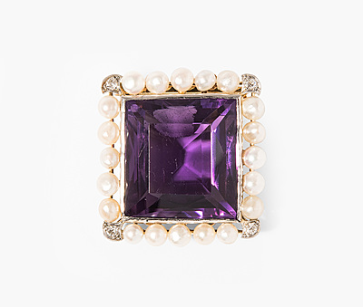 Schuler Auktionen AG - Amethyst-Perlen-Diamant-Verschluss