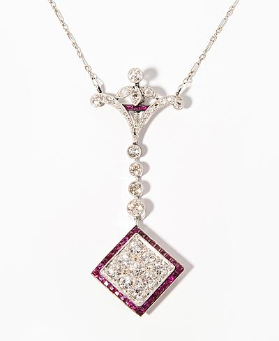 Schuler Auktionen AG - Diamant-Rubin-Anhängerkette