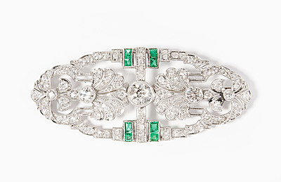 Schuler Auktionen AG - Diamant-Smaragd-Brosche