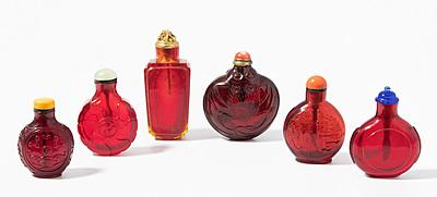 Schuler Auktionen AG - 6 Glas Snuff Bottles