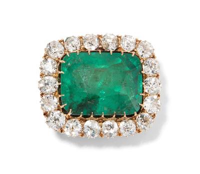 Schuler Auktionen AG - Smaragd-Diamant-Brosche